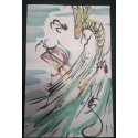 Water Dragon - Andy Lee Signed Original Con Style Fan Painting